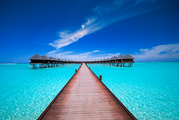 bridge leading to water bungalows - fiji
